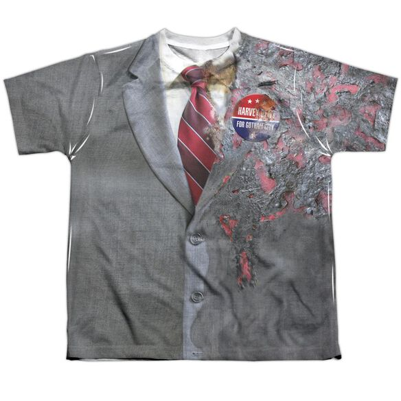 Dark Knight Two Face Costume Short Sleeve Youth Poly Crew T-Shirt