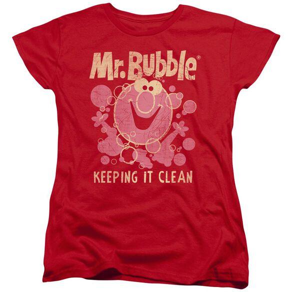 Mr Bubble Keeping It Clean Short Sleeve Women's Tee T-Shirt