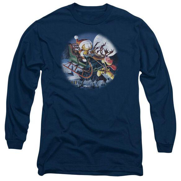 Garfield Moonlight Ride Long Sleeve Adult T-Shirt
