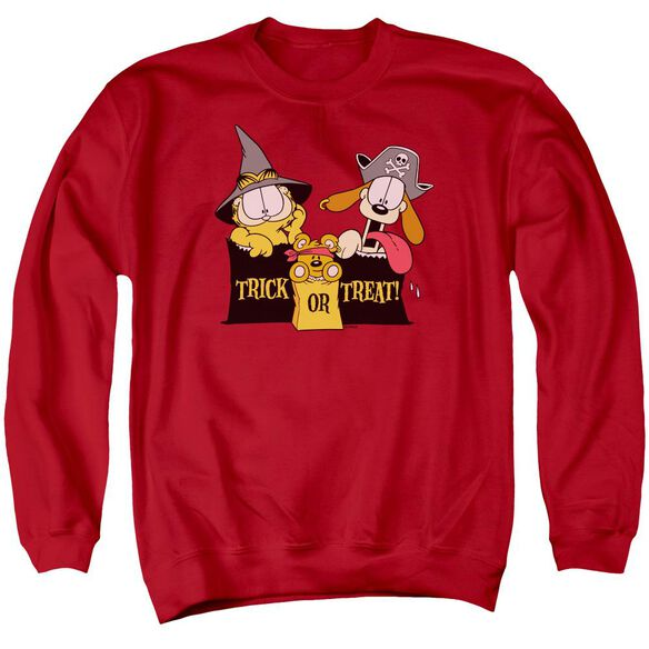 Garfield Trick Or Treat - Adult Crewneck Sweatshirt - Red