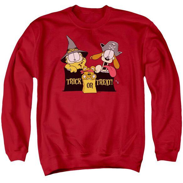 Garfield Trick Or Treat - Adult Crewneck Sweatshirt - Red
