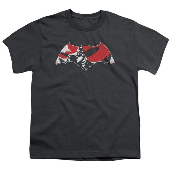 Batman V Superman Armor Splatter Logo Short Sleeve Youth T-Shirt