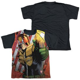Judge Dredd Democracy Short Sleeve Youth Front Black Back T-Shirt