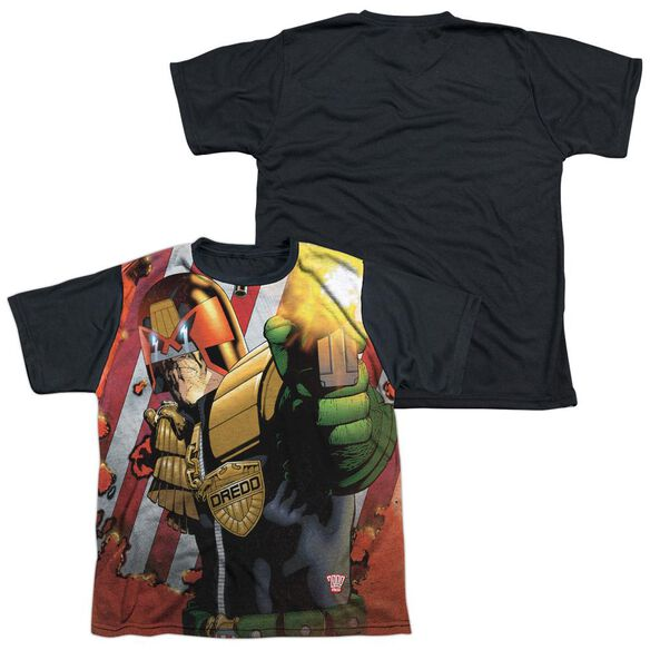 Judge Dredd Democracy Short Sleeve Youth Front Black Back T-Shirt
