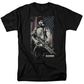 Rambo:First Blood Worn Liberty Short Sleeve Adult Black T-Shirt