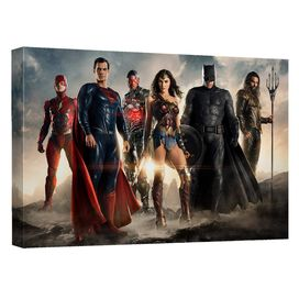 Justice League Movie Team Up Canvas Wall Art With Back Board