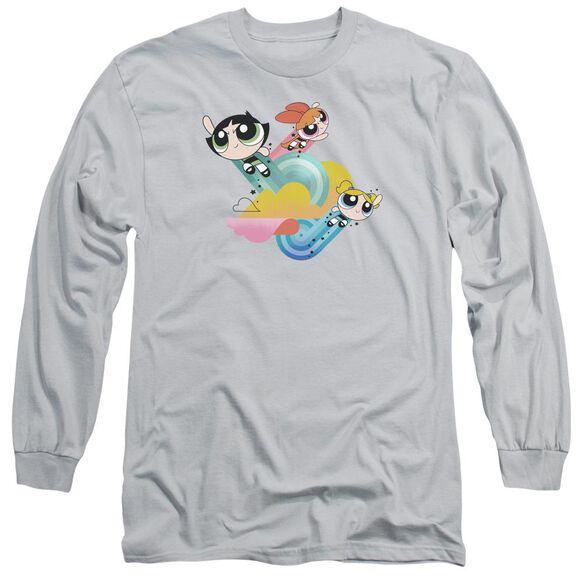 Powerpuff Girls Spiral Streaks Long Sleeve Adult T-Shirt