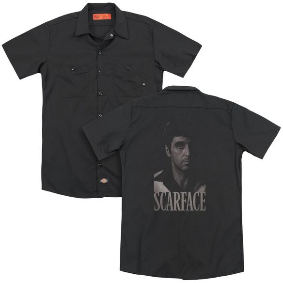 Scarface B&W Tony(Back Print) Adult Work Shirt