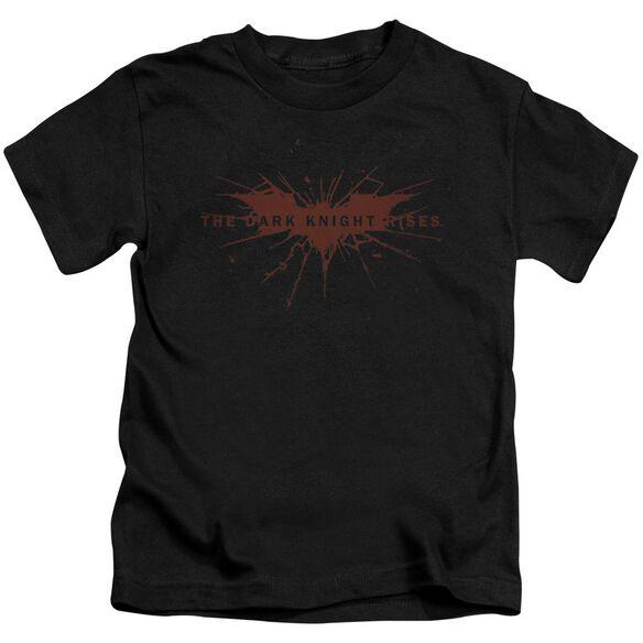 Dark Knight Rises Distressed Bat Short Sleeve Juvenile Black T-Shirt