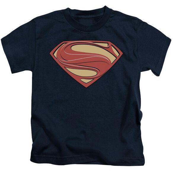 Man Of Steel New Solid Shield Short Sleeve Juvenile Navy T-Shirt