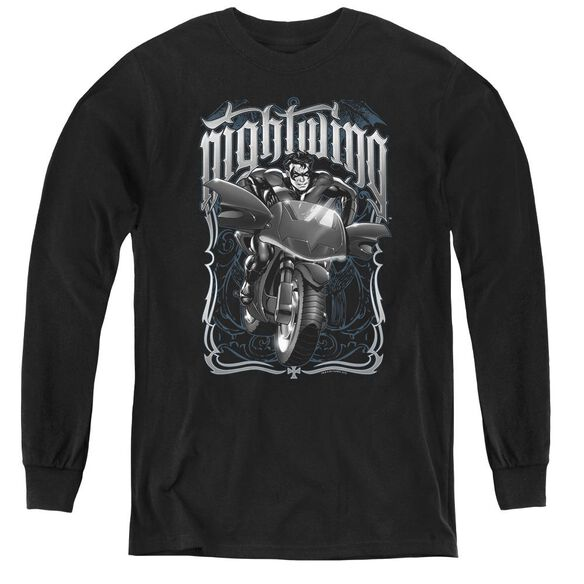 Batman Nightwing Biker - Youth Long Sleeve Tee - Black