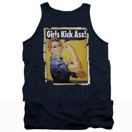 Girls Kick Ass - Adult Tank - Navy