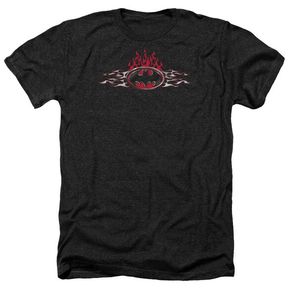 Batman Steel Flames Logo Adult Heather