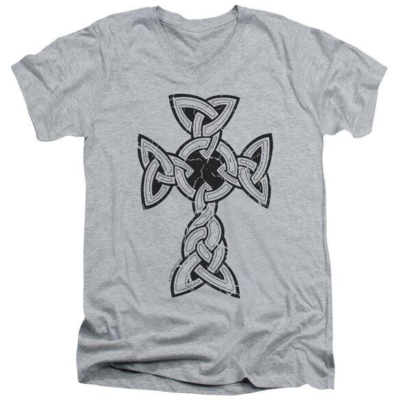 Knotted Celtic Cross Short Sleeve Adult V Neck Athletic T-Shirt