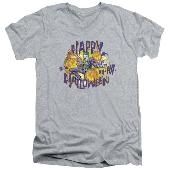 Batman Ha Ha Halloween Short Sleeve Adult V Neck Athletic T-Shirt