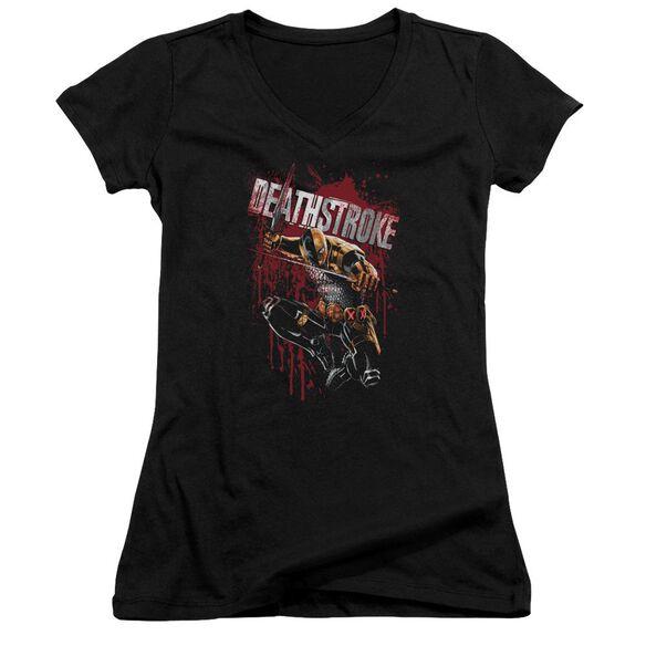 Jla Blood Splattered Junior V Neck T-Shirt