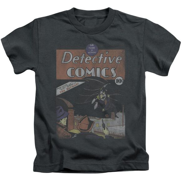 Dc Detective #27 Distressed Short Sleeve Juvenile Charcoal T-Shirt
