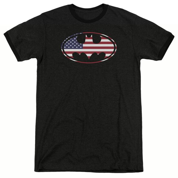 Batman American Flag Oval - Adult Heather Ringer - Black