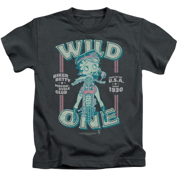 Betty Boop Wild One Short Sleeve Juvenile Charcoal T-Shirt