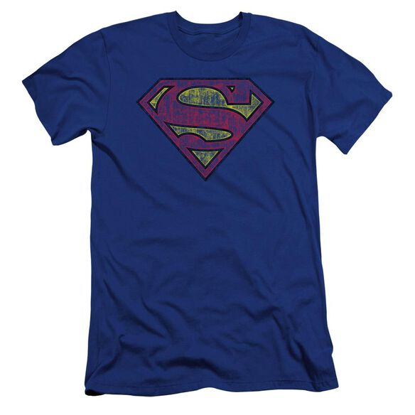 Superman Tattered Shield Premuim Canvas Adult Slim Fit Royal