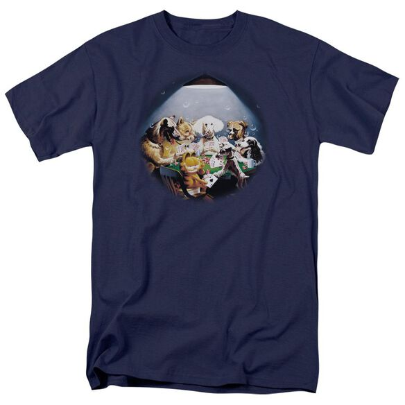 GARFIELD PLAYING WITH THE BIG DOGS-S/S ADULT 18/1 - NAVY T-Shirt