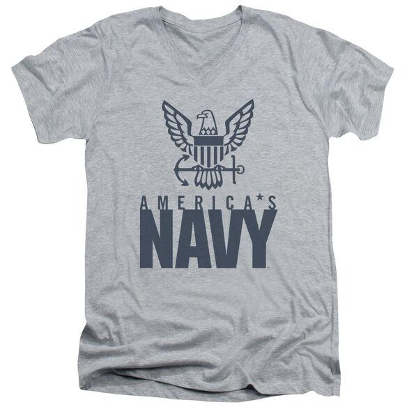 NAVY EAGLE LOGO-S/S ADULT V-NECK T-Shirt