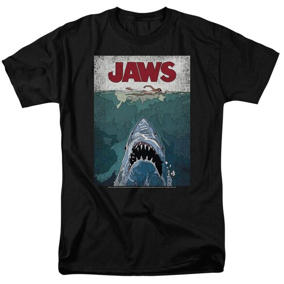 Jaws Lined Poster Short Sleeve Adult T-Shirt