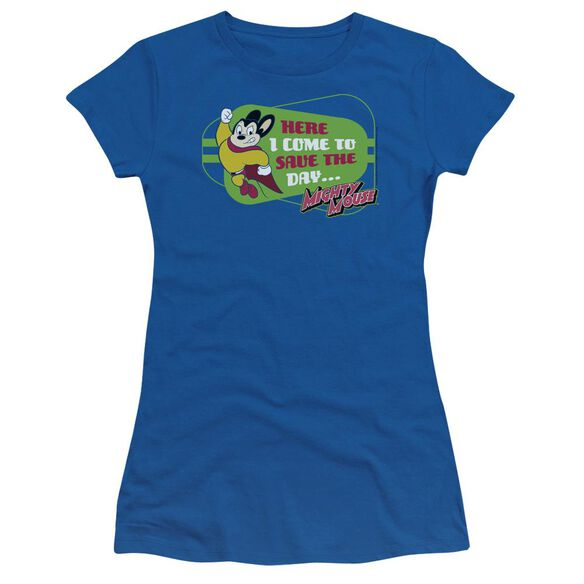 MIGHTY MOUSE HERE I COME - S/S JUNIOR SHEER - ROYAL BLUE T-Shirt