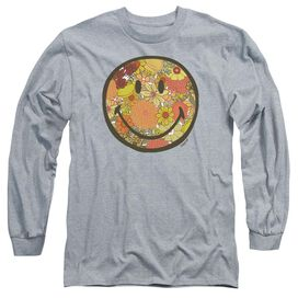 Smiley World Floral Face Long Sleeve Adult Athletic T-Shirt