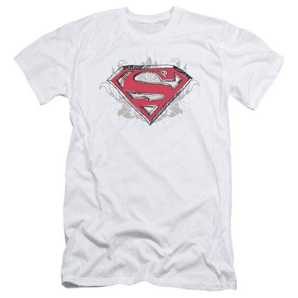 Superman Hastily Drawn Shield Short Sleeve Adult T-Shirt