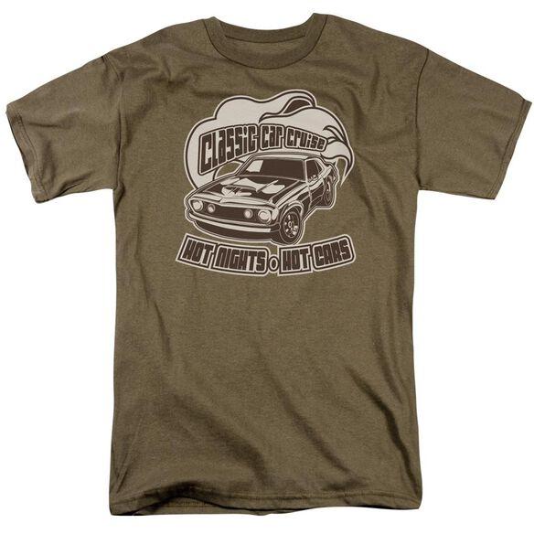 Classic Car Cruise Short Sleeve Adult Safari Green T-Shirt