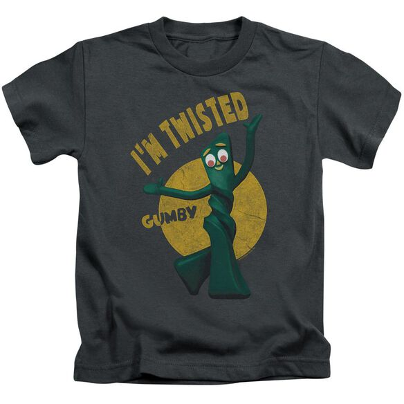 Gumby Twisted Short Sleeve Juvenile Charcoal T-Shirt