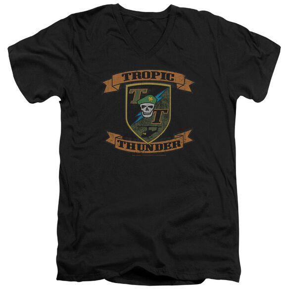 Tropic Thunder Patch Short Sleeve Adult V Neck T-Shirt