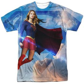 Supergirl Up In The Sky Short Sleeve Adult Poly Crew T-Shirt