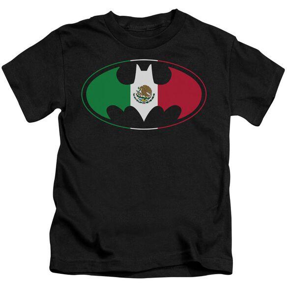 Batman Mexican Flag Shield Short Sleeve Juvenile Black T-Shirt