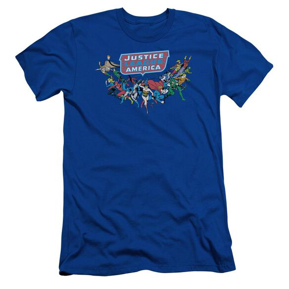 Dc Here They Come Short Sleeve Adult Royal T-Shirt
