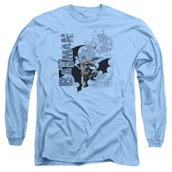 Batman Throwing Blades Long Sleeve Adult Carolina T-Shirt