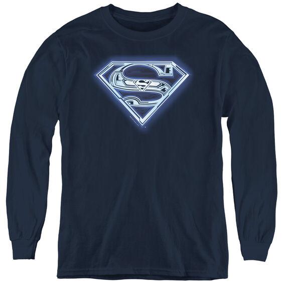 Superman Cyber Shield - Youth Long Sleeve Tee - Navy