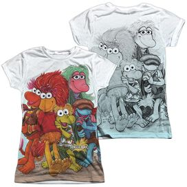 Fraggle Rock Group Shot (Front Back Print) Short Sleeve Junior Poly Crew T-Shirt
