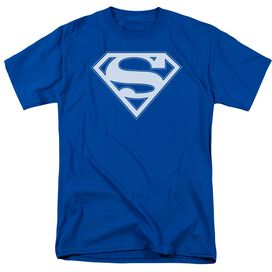 Superman & White Shield Short Sleeve Adult Royal T-Shirt