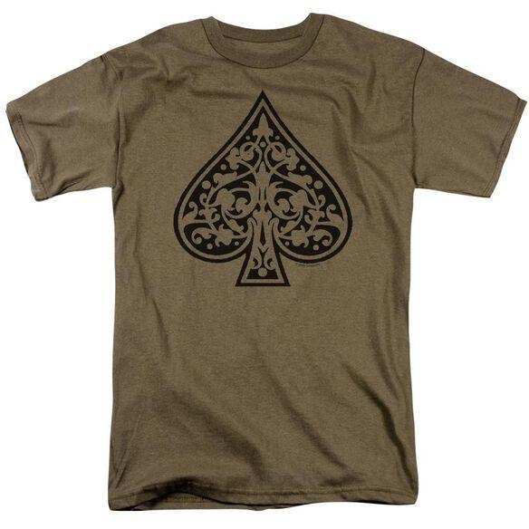 Tribal Spade Short Sleeve Adult Safari Green T-Shirt