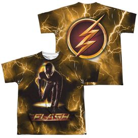 The Flash Bolt (Front Back Print) Short Sleeve Youth Poly Crew T-Shirt