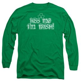 Kiss Me I'm Irish Long Sleeve Adult Kelly T-Shirt