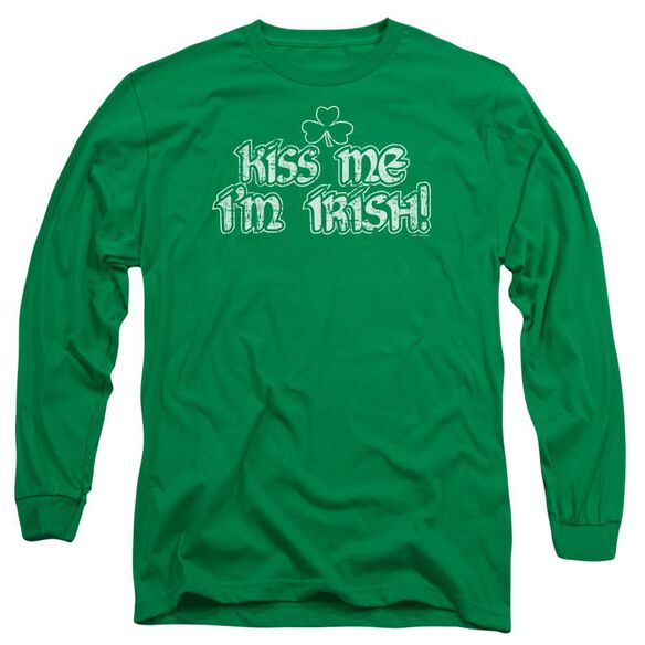 Kiss Me I'm Irish Long Sleeve Adult Kelly T-Shirt