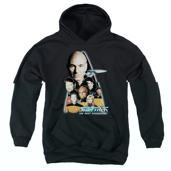 Star Trek The Next Generation-youth Pull-over Hoodie - Black