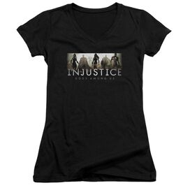 Injustice Gods Among Us Logo Junior V Neck T-Shirt