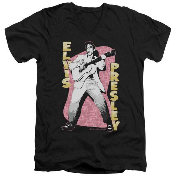 Elvis Pink Rock Short Sleeve Adult V Neck T-Shirt