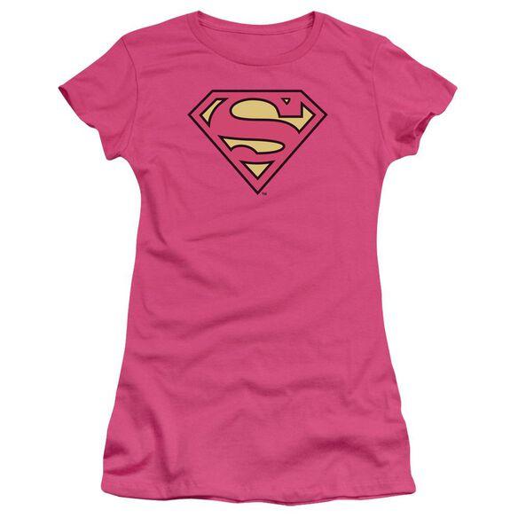 Dc Superman Classic Logo Short Sleeve Junior Sheer Hot T-Shirt