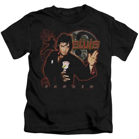 Elvis Karate Short Sleeve Juvenile Black T-Shirt