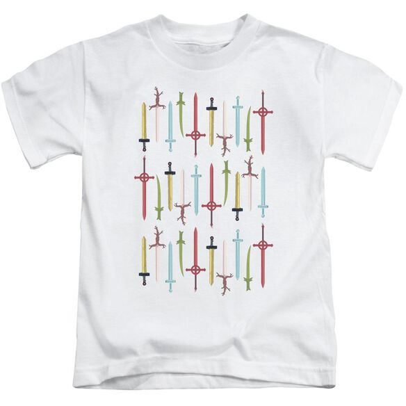 Adventure Time Swords Short Sleeve Juvenile White T-Shirt